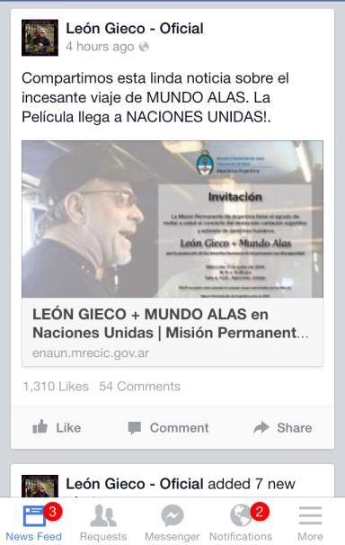 Facebook post - Leon Gieco